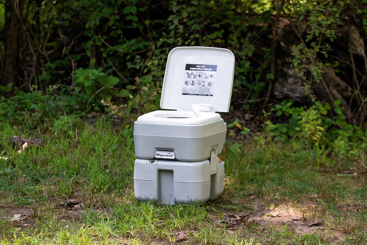 A portable toilet