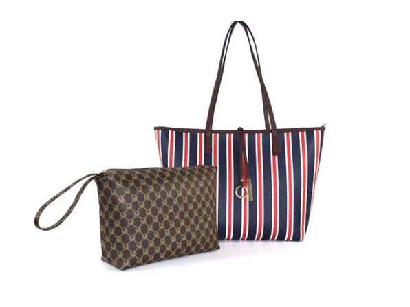 Striped Collection Tote & Wallet Set