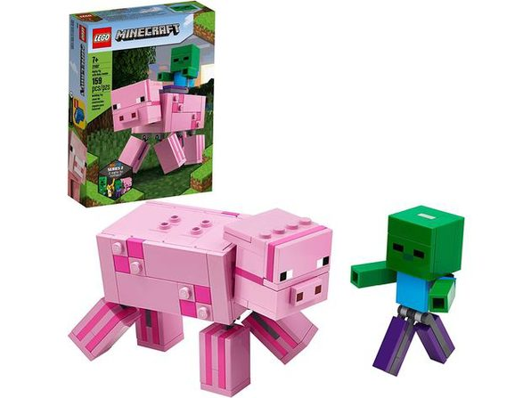 LEGO Minecraft Pig BigFig and Baby Zombie Character Cool Building Set, 159 Pieces (New Open Box)