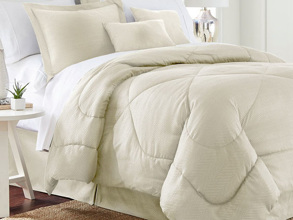 Chevron Comforter 6 Piece Set (Full/Queen) - Ivory - Product Image