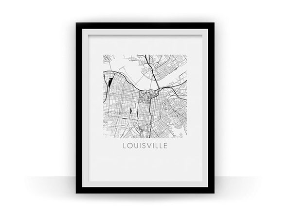 Louisville Black and White Map Print (18 x 24)