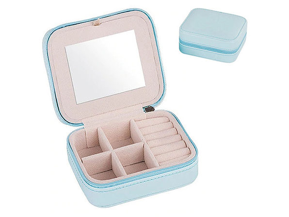 Cool Jewels Palm-Sized Compact Jewelry Box (Light Blue)