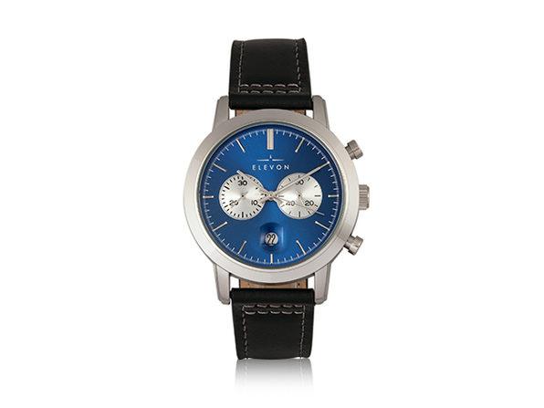 Elevon Langley Chronograph Leather Band Watch (Blue/Black)