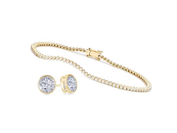 Bezel Jewelry Set - Gold - Product Image