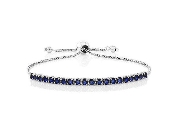 Swarovski Crystal Bolo Slider Bracelet Sapphire Blue - Product Image