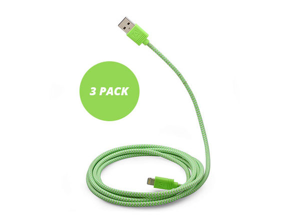 10-Ft Cloth MFi-Certified Lightning Cable: 3-Pack (Green)