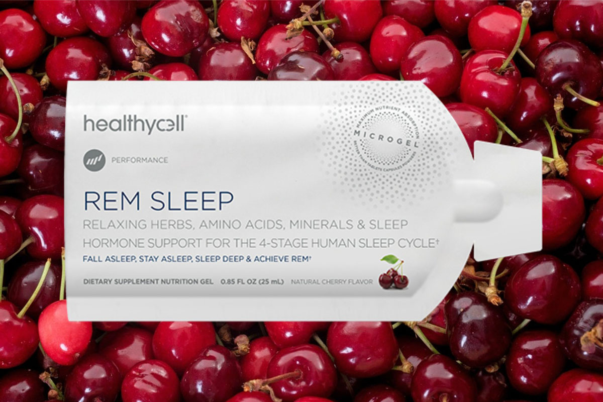 A package of healthycell REM Sleep supplements, with cherries in the background