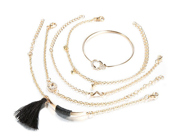 Black Tassel Pav'e 5-Piece Bracelet Set