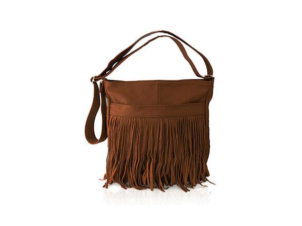 Front-Fringed 100% Leather Messenger Bag (Brown)