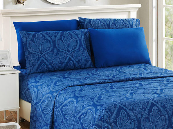 Paisley Sheet 6 Pcs Navy Blue - King - Product Image