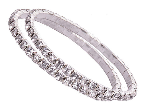 Oussum Tennis Bracelets with Swarovski Elements: Set of 2 (Silver)