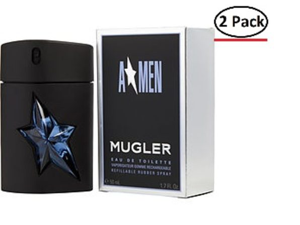 ANGEL by Thierry Mugler EDT SPRAY RUBBER BOTTLE REFILLABLE 1.7 OZ for MEN ---(Package Of 2) - Product Image
