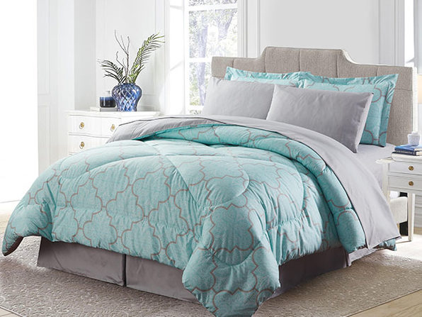 Bibb Home 8-Piece Down Alternative Comforter Set