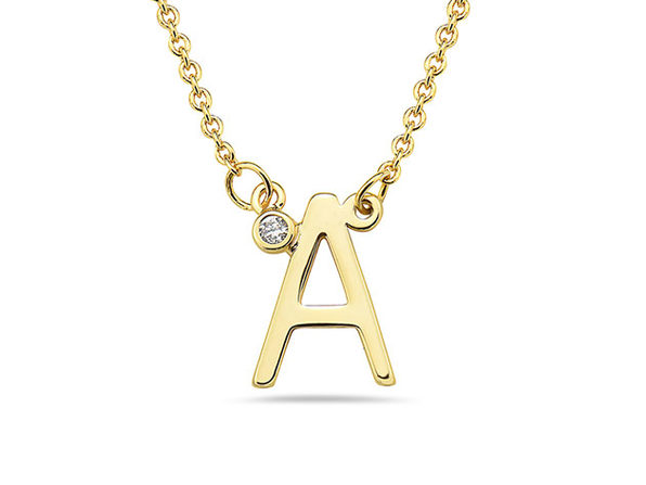 18K Gold-Plated CZ Initial Necklace