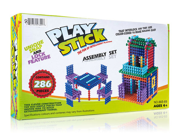 Play-Stick Building Block Assembly Set with Snap 'N Lock Feature (286Pcs)