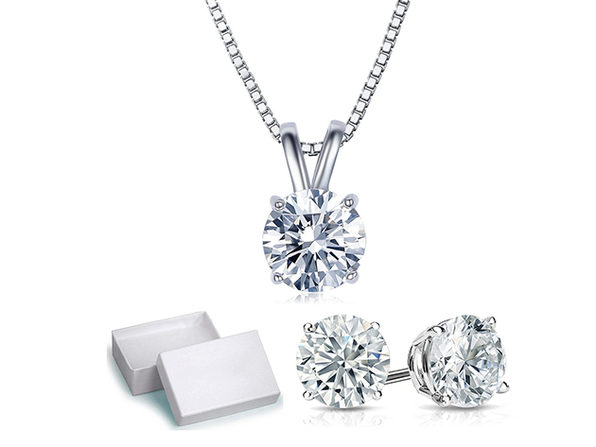 Solitaire Necklace and 4 Prong Earring made With Swarovski Crystals- 18k White - Product Image