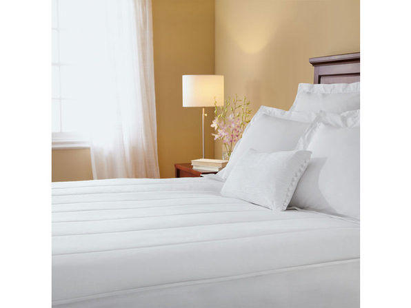 Sunbeam Slumber Rest Quilted Electric Heated Mattress Pad White G9 - White