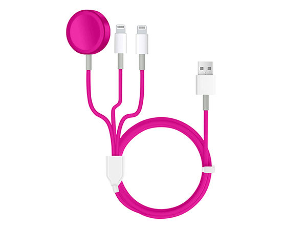 3-in-1 Apple Watch & Lightning Charger Pink - Product Image