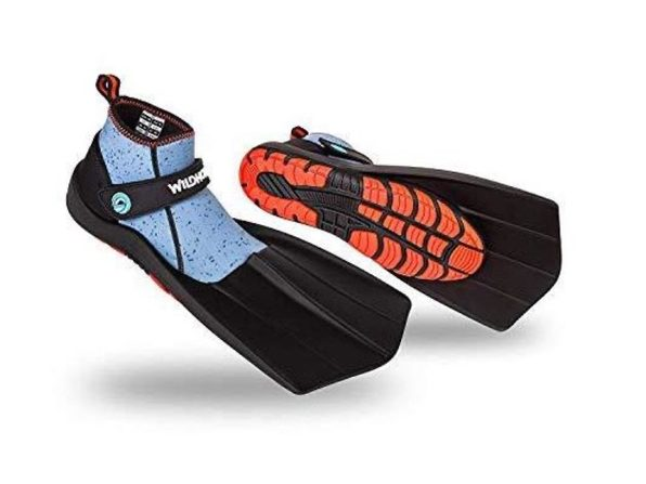 Wildhorn Topside Snorkel Fins Compact Swim & Snorkeling Flippers, Women's 5 - Manta Ray (Distressed Box)