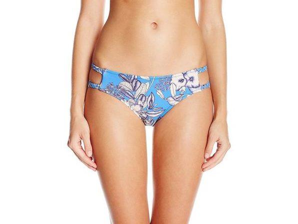 MINKPINK Women's Aquabomb Mid Rise Bikini Bottom Blue Floral - Large