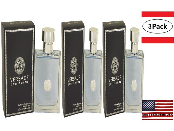3 Pack Versace Pour Homme by Versace Deodorant Spray 3.4 oz for Men - Product Image