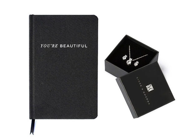 The Beauty Journal  & Simulated Diamond Earring + Necklace Gift Set