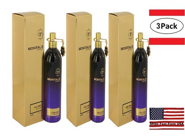 3 Pack Montale Aoud Sense by Montale Eau De Parfum Spray (Unisex) 3.4 oz for Women