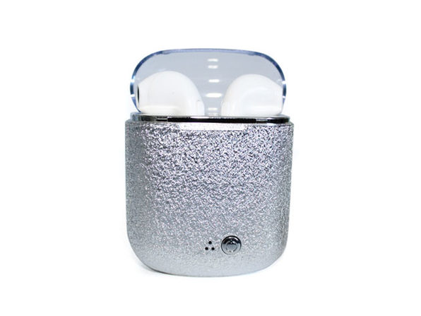 Bluetooth Earbuds with Glitter Case - Silver - Product Image