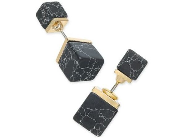 Inspired Life Gold-Tone Black Stone Cube Front and Back Earrings