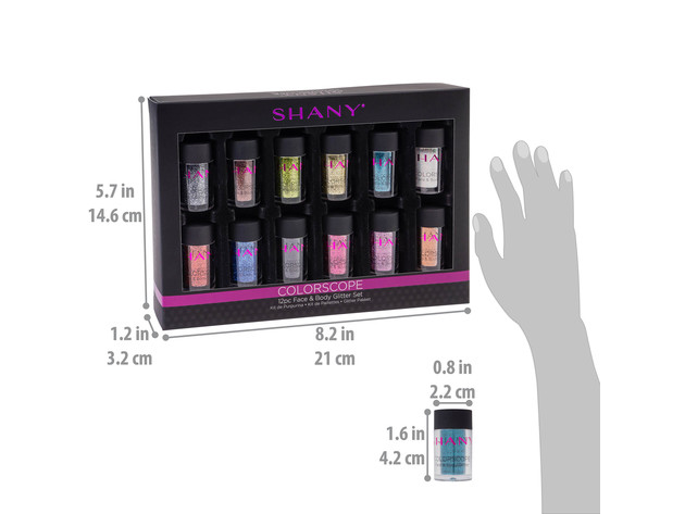 SHANY Colorscope 12-Color Face & Body Premium Cosmetics Grade Glitter Powder - Sparkling Loose Glitter Pigments for Festival, Holiday, Hair and Nail Art. for $25 6