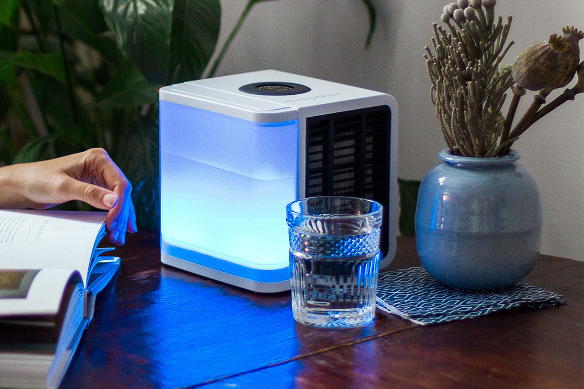 A personal air conditioner on a desk