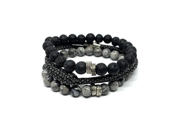 Elite Bracelets with Lava Rock & Silver Agate: 3-Pack