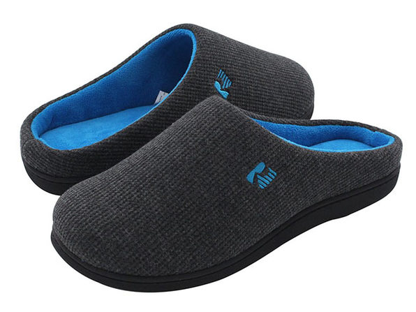 Men's Original Two-Tone Memory Foam Slippers (Dark Gray/Blue, Size 9-10)