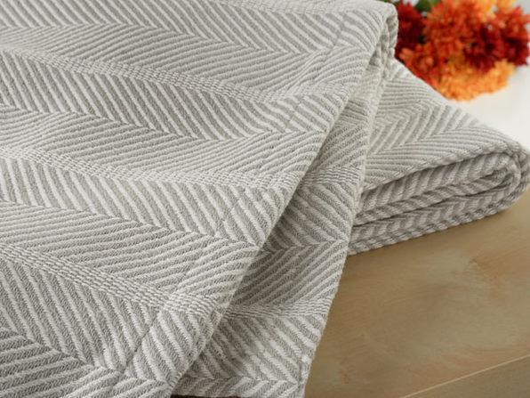 Bibb Home 100% Organic Cotton Certified Weave BlanketKing, Grey Herringbone - Product Image