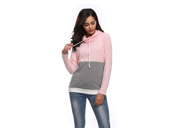 Two-Tone Cowl Neck Pullover with Thumb Holes (Pink/Large)