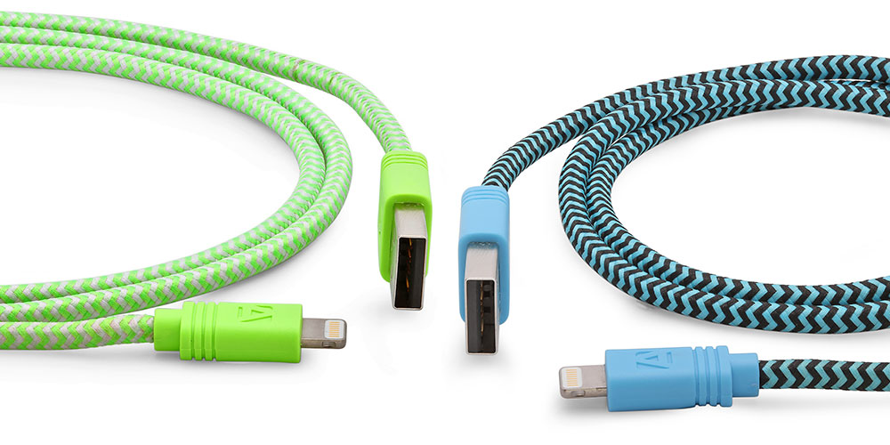 Two colorful lightning cables