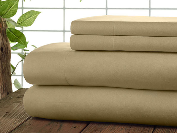 Kathy Ireland 4-Piece CoolMax Sheet Set (Taupe)