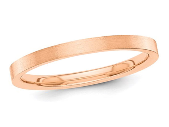Ladies 14K Rose Pink Gold 2mm Flat Wedding Band - 8