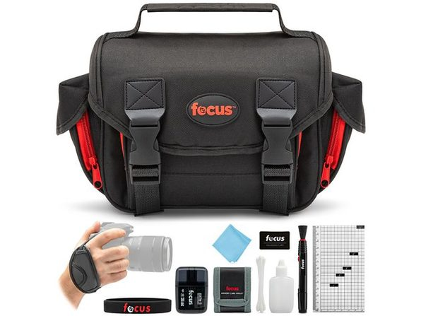 Focus DSLR Camera Accessory Bag Kit with Mini Hdmi Cable and High Speed USB 2.0 Card Reader with Silicone Band for Zoom Lenses, Black (New Open Box) - Product Image