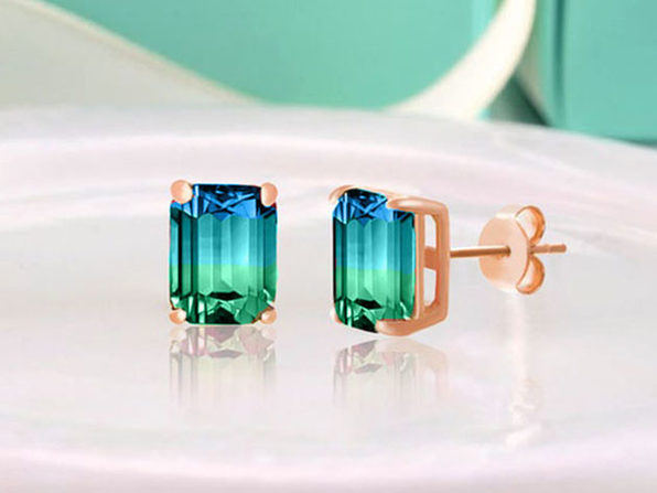 Stud Earrings with Emerald Cut Swarovski Crystals (Aqua/Green)