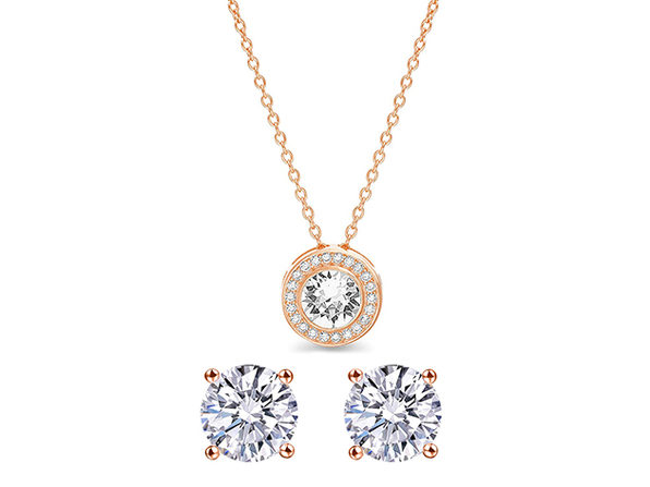 Pave Halo Disc Necklace & Stud Earrings with Swarovski Crystals (Rose Gold)