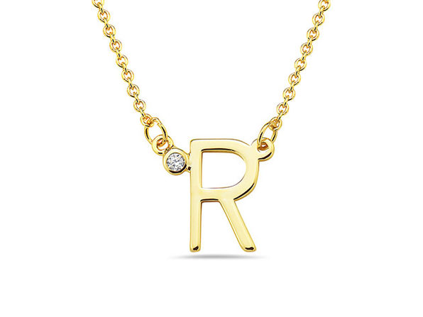18K Gold Plated CZ Initial Necklaces - R - Product Image