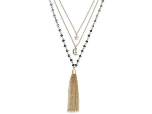 Gold-Tone Beaded Tassel Pendant Layer Necklace