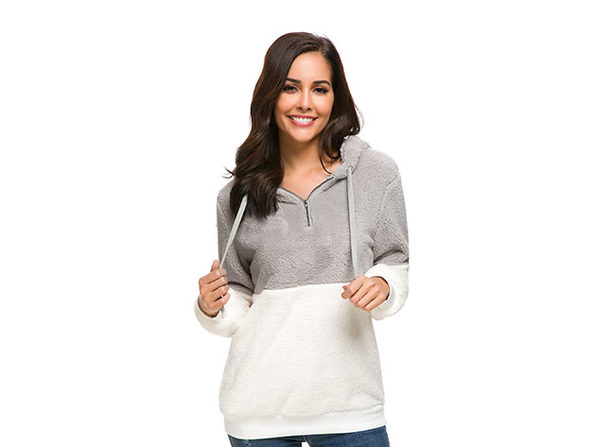 Plush Color Block Pullover Hoodie (Light Grey)