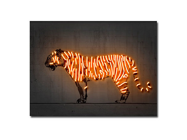 Octavian Mielu 16x12 Neon Illusion Wall Art (Tiger)