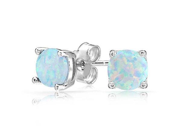 """Swarovski Crystal 0.28"""" Birthstone Stud Earrings (Opal)"""