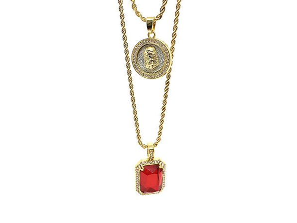 Jesus & Ruby Necklaces: 2-Pack