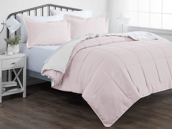 Down Alternative Reversible Comforter Set ( Blush & White | King / Cal King)
