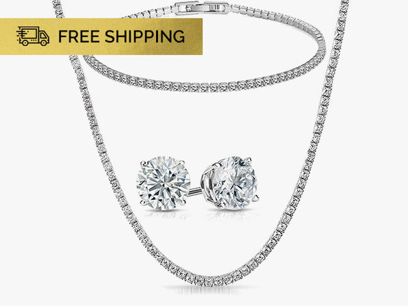 Tennis Jewelry with Swarovski Crystals 3-Piece Set (White Gold)
