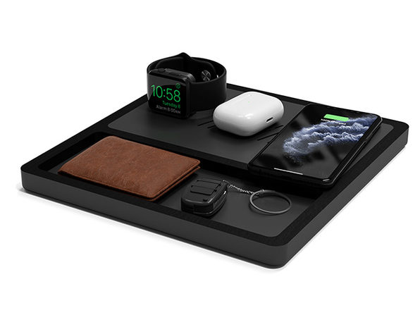 TRIO TRAY Wireless Charging Station (Black Top/Black Base)